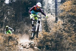 mountain biking with gear